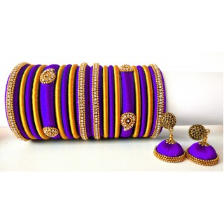 Violet Grand Wedding Silk Thread Bangle Set with Jhumka Earrings