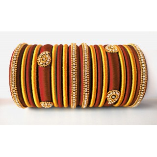 Maroon Grand Wedding Silk Thread Bangle Set with Jhumka Earrings