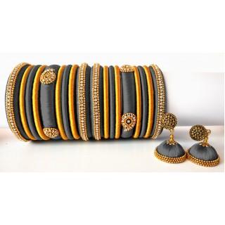 Grey Grand Wedding Silk Thread Bangle Set with Jhumka Earrings