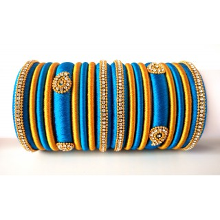 Blue Grand Wedding Silk Thread Bangle Set with Jhumka Earrings