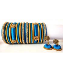 Blue Grand Wedding Silk Thread Bangle Set with Jhumka Earrings