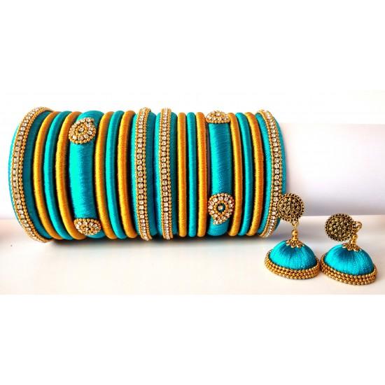Turquoise Blue Grand Wedding Silk Thread Bangle Set with Jhumka Earrings