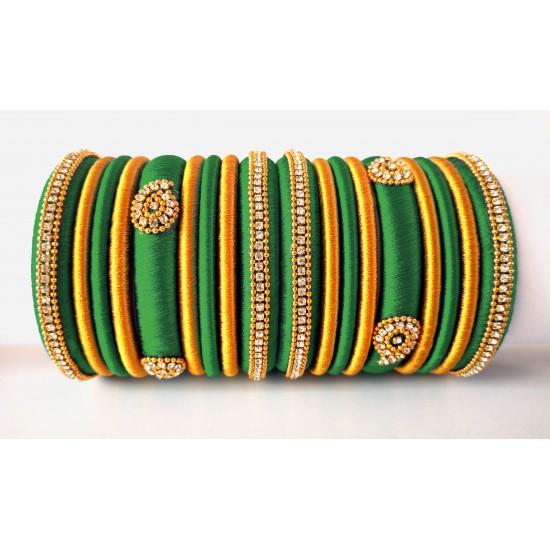 Teal Green Grand Wedding Silk Thread Bangle Set with Jhumka Earrings