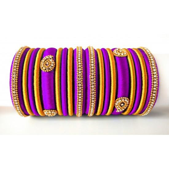 Purple Grand Wedding Silk Thread Bangle Set with Jhumka Earrings