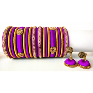 Purple Grand Wedding Silk Thread Bangle Set with Jhumka Earrings
