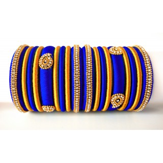 Royal Blue Grand Wedding Silk Thread Bangle Set with Jhumka Earrings