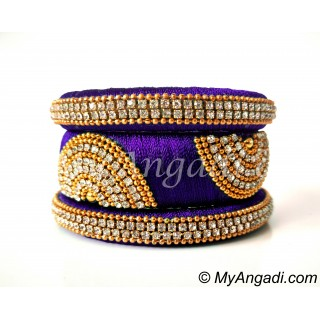 Violet Grand Kada Bridal Silk Thread Bangle Set