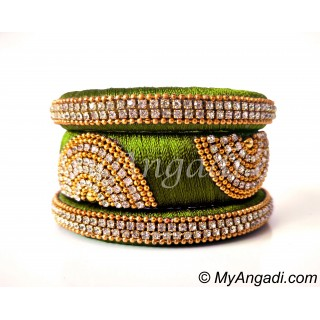 Olive Green Grand Kada Bridal Silk Thread Bangle Set