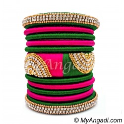 Dark Green - Pink Colour Grand Kada Bridal Silk Thread Bangle Set