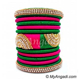 Green - Pink Colour Grand Kada Bridal Silk Thread Bangle Set