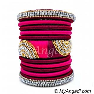 Magenta  - Pink Colour Grand Kada Bridal Silk Thread Bangle Set