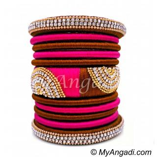 Kakki  - Pink Colour Grand Kada Bridal Silk Thread Bangle Set