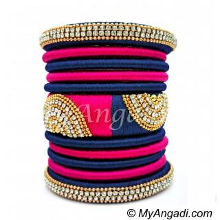 Dark Blue - Pink Colour Grand Kada Bridal Silk Thread Bangle Set