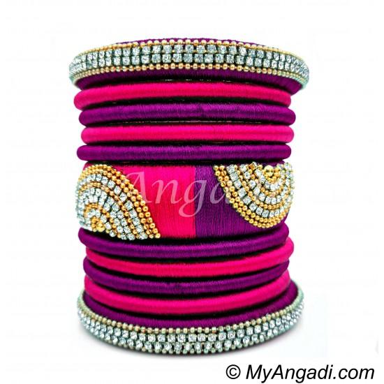 Purple - Pink Colour Grand Kada Bridal Silk Thread Bangle Set