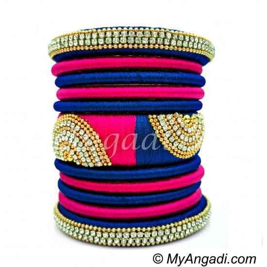 Royal Blue - Pink Colour Grand Kada Bridal Silk Thread Bangle Set