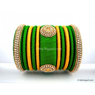 Lime Green with Gold Combination Grand Kada Bridal Silk Thread Bangle Set