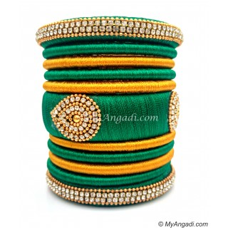 Green with Gold Combination Grand Kada Bridal Silk Thread Bangle Set