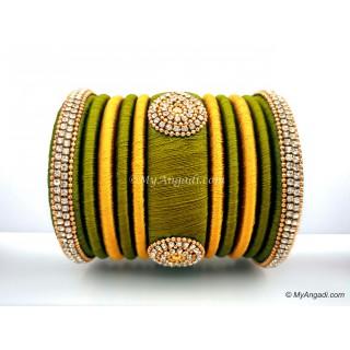 Olive Green with Gold Combination Grand Kada Bridal Silk Thread Bangle Set