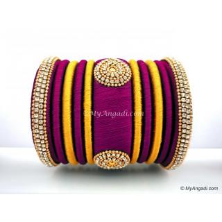 Magenta  with Gold Combination Grand Kada Bridal Silk Thread Bangle Set