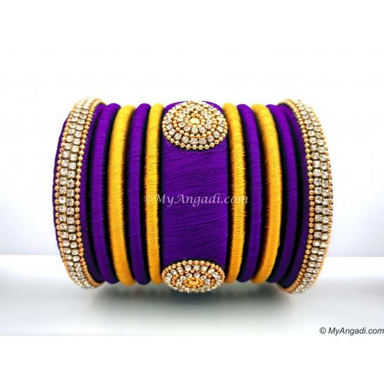 Violet with Gold Combination Grand Kada Bridal Silk Thread Bangle Set