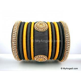 Grey with Gold Combination Grand Kada Bridal Silk Thread Bangle Set