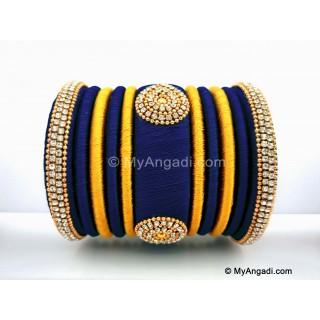 Dark Blue with Gold Combination Grand Kada Bridal Silk Thread Bangle Set