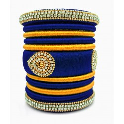 Dark Blue with Gold Combination Grand Kada Bridal Silk Thread Bangle Set