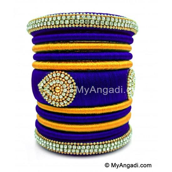 Royal Blue with Gold Combination Grand Kada Bridal Silk Thread Bangle Set