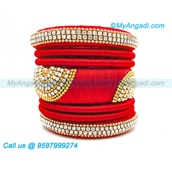 9e5efc9355c45 Red Colour Silk Thread Bangles