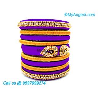 Violet Colour Silk Thread Bangles