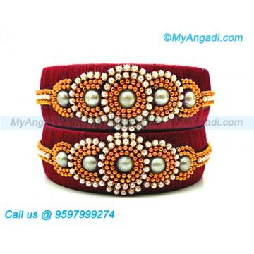 Maroon Colour Silk Thread Bangles with Pearl