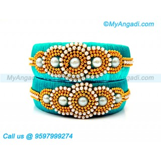 Turquoise Blue Colour Silk Thread Bangles with Pearl