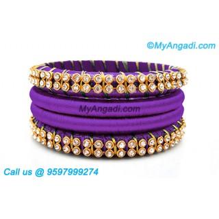 Violet Colour Silk Thread Bangles with Gold Jari