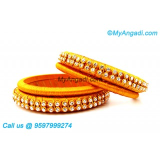 Yellow Colour Silk Thread Bangles with Gold Jari