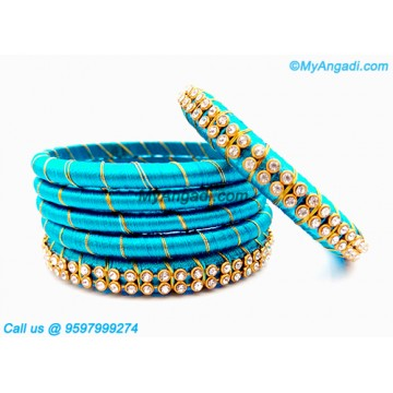 Turquoise Blue Colour Silk Thread Bangles with Gold Jari