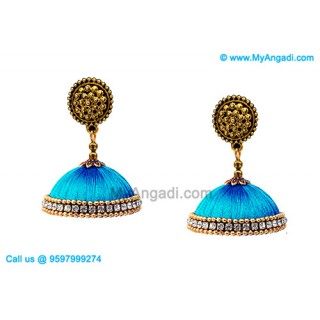 Blue Colour Silk Thread Jhumukka Earrings