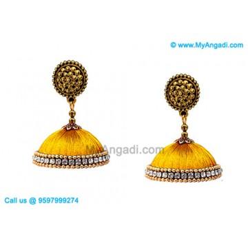 Golden Colour Silk Thread Jhumukka Earrings