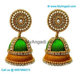 Lime Green - Golden Combination Silk Thread Jhumukka Earrings