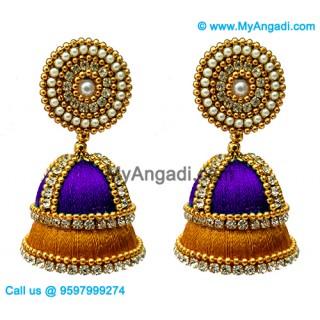 Violet Colour - Golden Combination Silk Thread Jhumukka Earrings