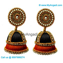 Black colour - Golden Combination Silk Thread Jhumukka Earrings