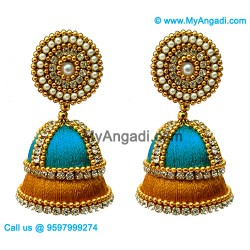 Blue Colour - Golden Combination Silk Thread Jhumukka Earrings