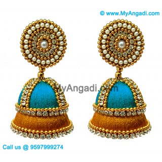 Blue Colour - Golden Combination Silk Thread Jhumukka Earrings