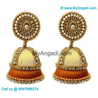 Ivory Colour - Golden Combination Silk Thread Jhumukka Earrings