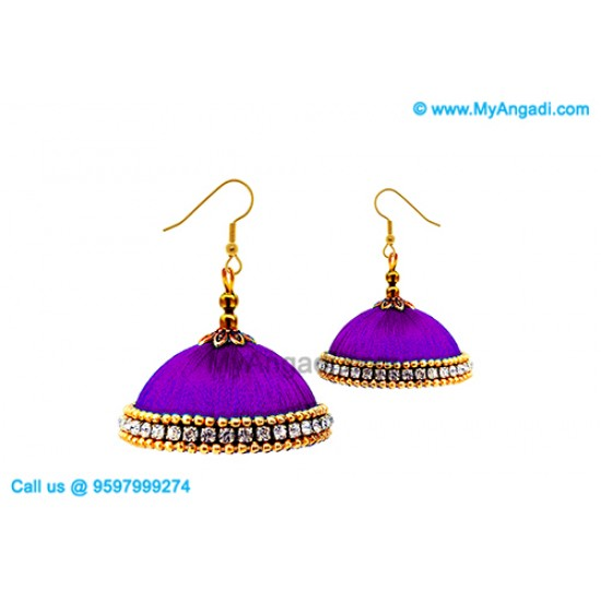 Violet Colour Silk Thread Jhumukka Earrings