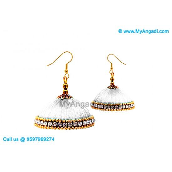 White Colour Silk Thread Jhumukka Earrings