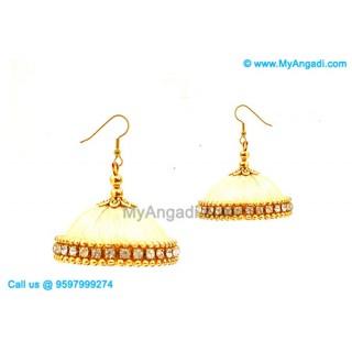 Ivory Colour Silk Thread Jhumukka Earrings
