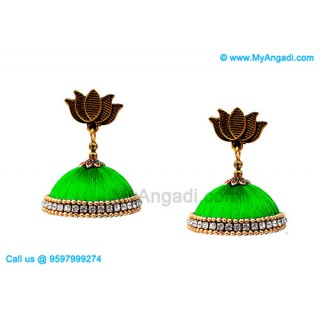 Lime Green Color Silk Thread Jhumukka Earrings