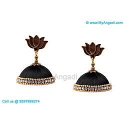 Black Colour Silk Thread Jhumukka Earrings