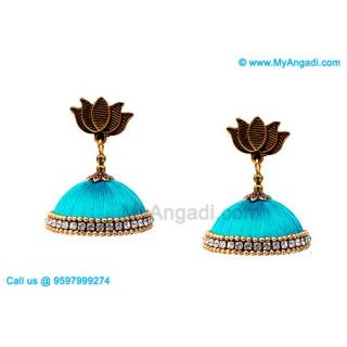 Turquoise Blue Colour Silk Thread Jhumukka Earrings