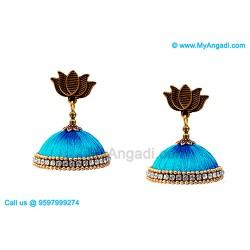 Blue Colour Silk Thread Jhumukka Earrings
